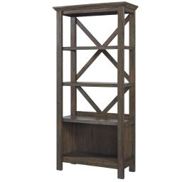 X Shape Back Bookcase with 3 Open Shelves and 1 Open Compartment,Dark Brown