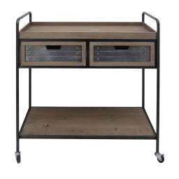Caster Supported 2 Drawer Wood and Metal Rolling Cart, Brown and Black