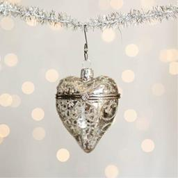 1 Silver Heart Mercury Christmas Glass Ornament - Vintage Look Heirloom Quality Holiday Decoration Opens to Add Small Gifts - Includes 6 Swirl Hooks