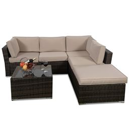 4 pcs Wicker Cushioned 5 Seat Sofa Furniture Set