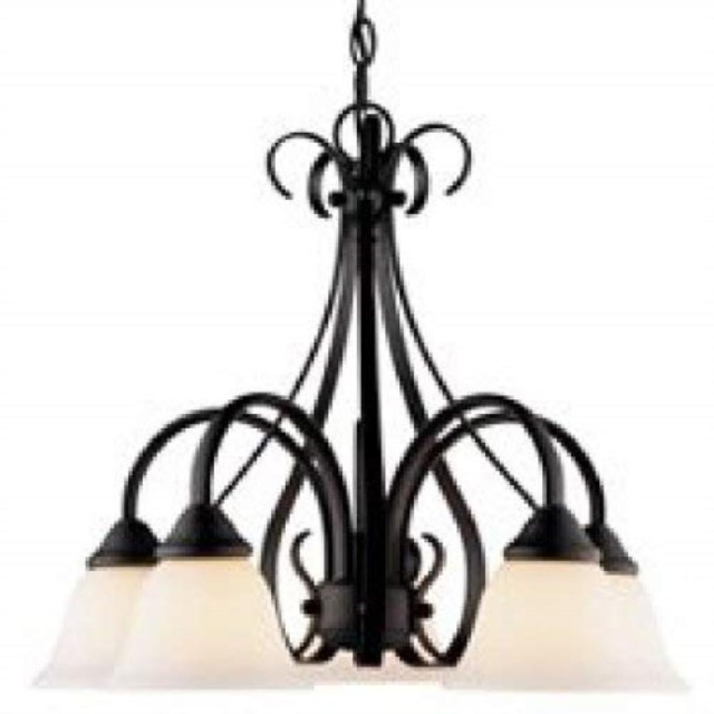 Boston Harbor F3-5C 7102130 Dimmable Chandelier, (5) 60/13 W Medium A19/Cfl Lamp, Chain Hanging, Glass Shade, 18 in H, White