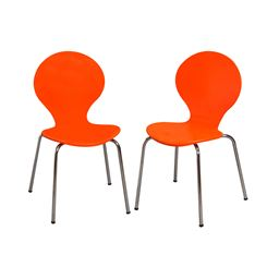 Gift Mark Modern Childrens 2 Chair Set with Chrome Legs - Orange Color