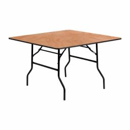 Offex 48'' Square Wood Folding Banquet Table with Non-Marring Foot Caps
