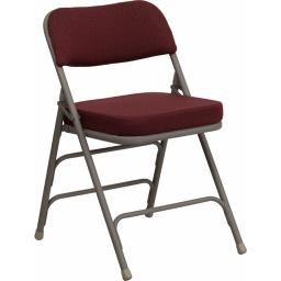 Offex Premium Curved Triple Braced & Quad Hinged Burgundy Fabric Upholstered Metal Folding Chair
