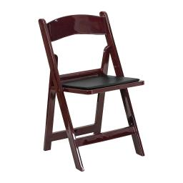 Offex 1000 lb. Capacity Red Mahogany Resin Folding Chair with Black Vinyl Padded Seat