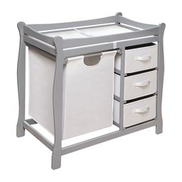 Badger Basket Co Sleigh Style Changing Table with Hamper and Baskets - Gray