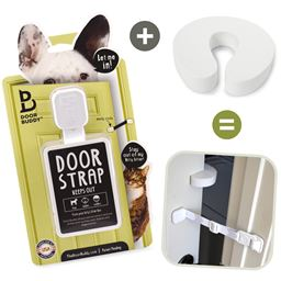 Door Buddy® Door Latch + Foam Door Stopper | Keep Dog Out of Litter Box and Prevent Door from Closing | Easy Cat and Adult Entry!