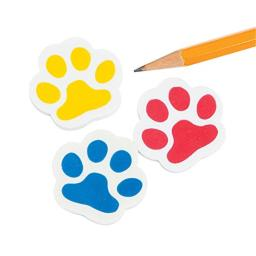 Fun Express Paw Print Erasers - 24 Piece Pack