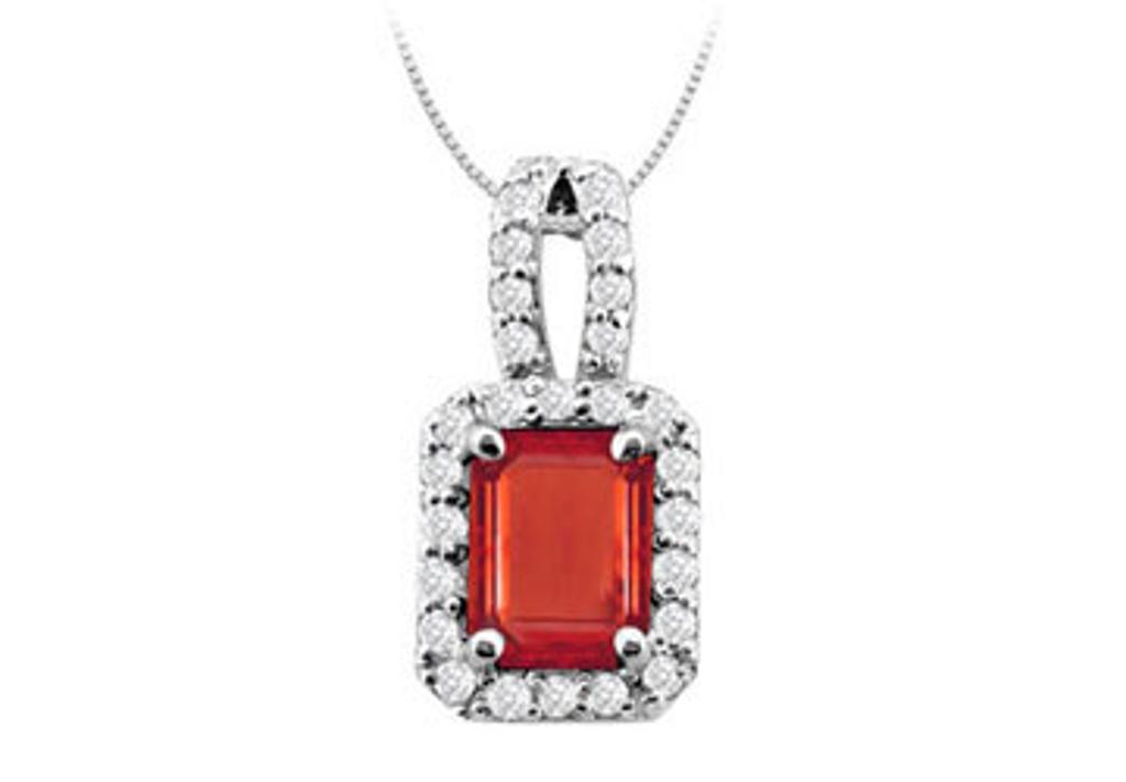 14K White Gold Emerald Cut Created Ruby and Cubic Zirconia Pendant with 4.75 Carat TGW