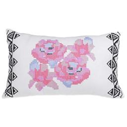 Blink Ryder Geo Floral Oblong Throw Pillow-White