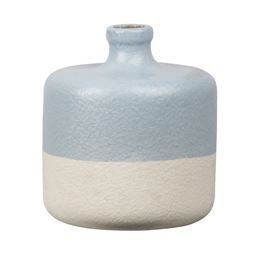Urban Trends Stoneware Round Vase with Narrow Mouth, Short Neck and Beige Banded Rim Bottom in Rough Finish, Small - Sky Blue