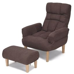 Adjustable Lazy Sofa Chair w/ Footstool and Armrest
