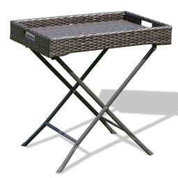 Brown Foldable Rattan Tray Table