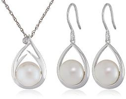 """Sterling Silver Freshwater Cultured Pearl and Diamond Pendant Necklace and Earrings Jewelry Set"""""""