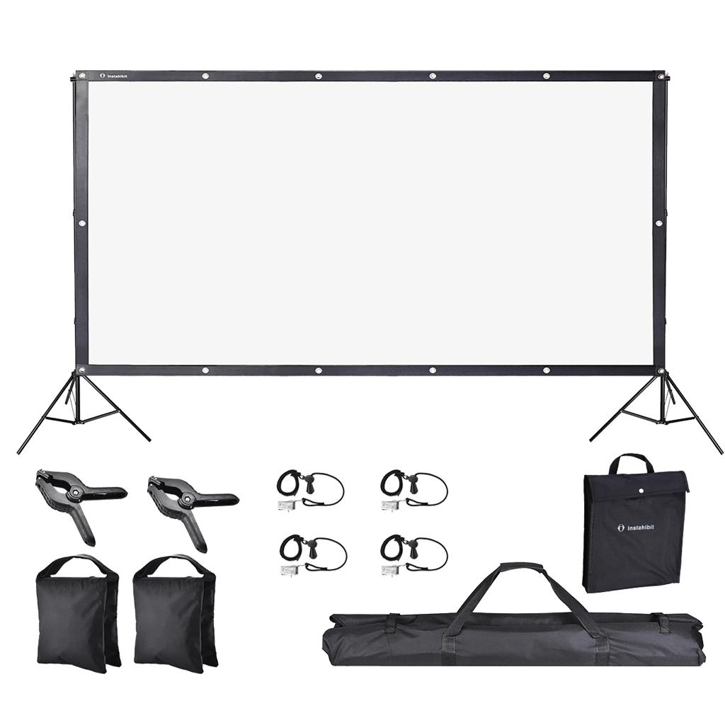 """Yescom 84"""" Front Projection Screen Set with 10x7 Ft Adjustable Backdrop Stand Home"""