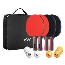 Yescom Table Tennis Paddles Set with 4 Paddles 8 Balls Carrying Bag for Sport Beginner