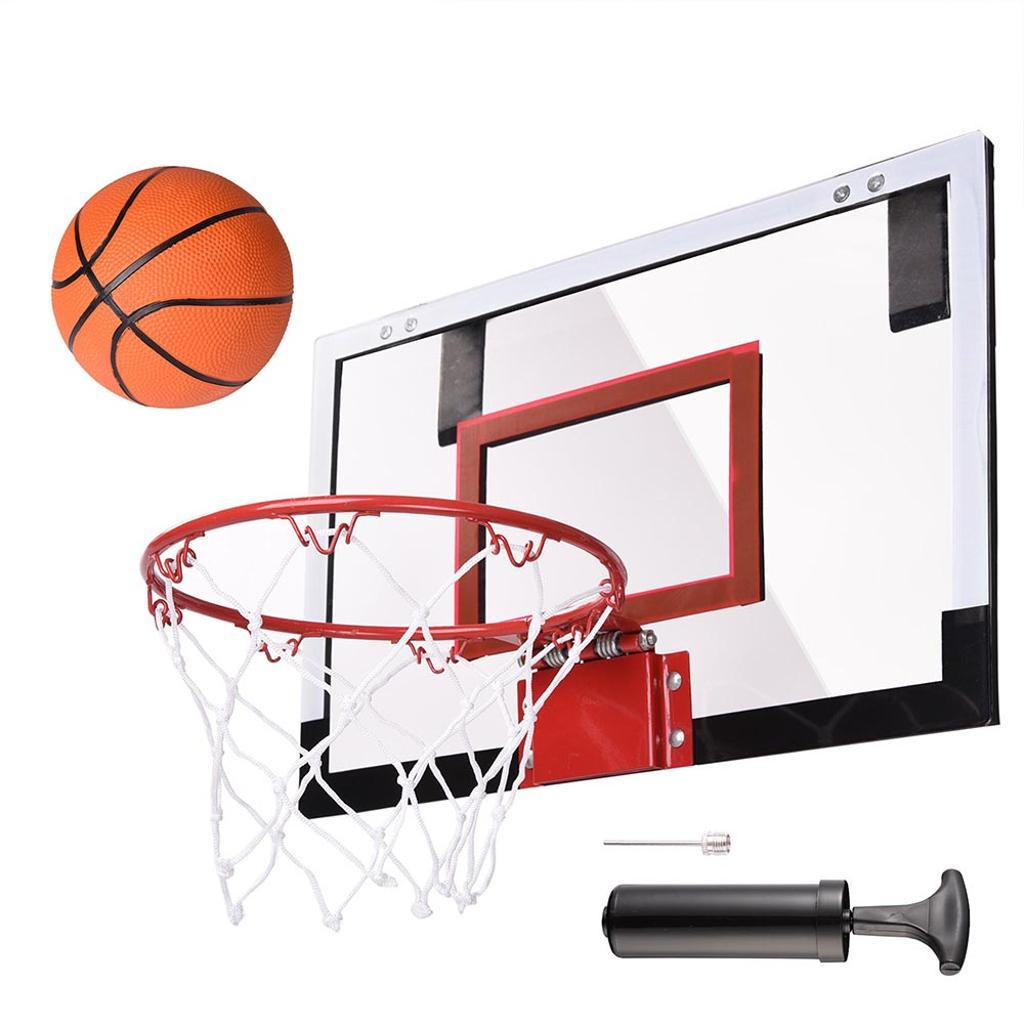 "Mini Basketball Hoop 18x12' Over-The-Door/Wall Indoor w/ Pump 5.5"" Ball Set Sport Exercise"