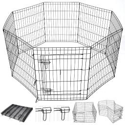 "Yescom 30"" Pet Dog Playpen Exercise Fence Cage Kennel Play Pen with Door 8 Panel Outdoor Indoor"