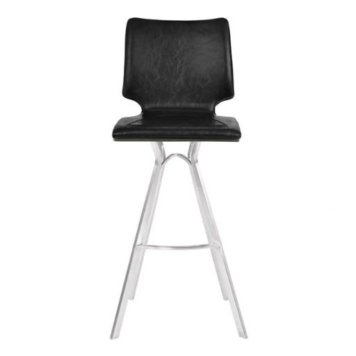 Armen Living LCMLBAVBBSGR30 28 x 48 x 48 in. 30 in. Marley Bar Height Barstool, Brushed Stainless Steel with Vintage Black Faux Leather & Grey Walnut