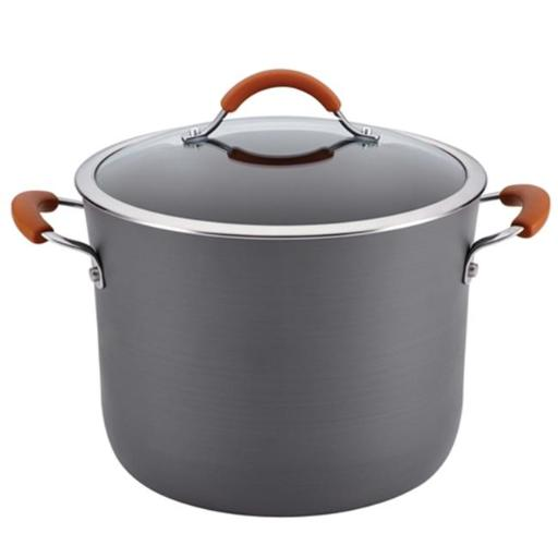 Rachael Ray 87639 Cucina Hard-Anodized Nonstick 10-Quart Covered Stockpot, Gray With Pumpkin Orange Handles
