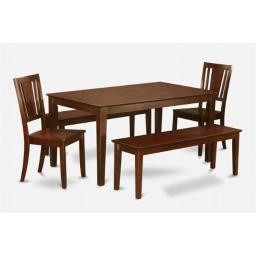 East West Furniture CADU5C-MAH-W Capri 5PC Rectangualar Table with 2 Dudley Wood seat chairs and 2 51-in Long benches