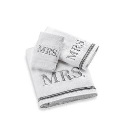 CRC Mrs. Embroidered Towel Set, White