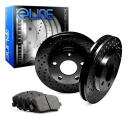Front eLine Black Series Drilled Brake Rotors & Ceramic Brake Pads FBX.75010.02
