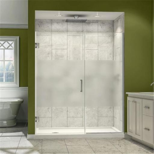 DreamLine SHDR-244607210-HFR-04 DreamLine Unidoor Plus 46 to 46-1/2 in. W x 72 in. H Hinged Shower Door, Half Frosted Glass Door, Brushed Nickel Finis