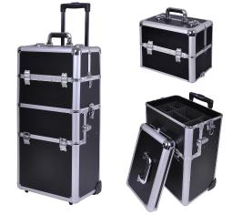 "38"" 2in1 Rolling Makeup Artist Cosmetic Train Case Hair Style Lock Box Black 12MKC001-C2ABRO-0611"
