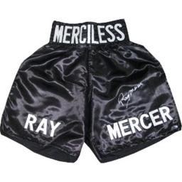 Athlon Ctbl-013317 Ray Mercer Signed Black Satin Boxing Trunks With Merciless - 1988 Seoul Olympic Gold