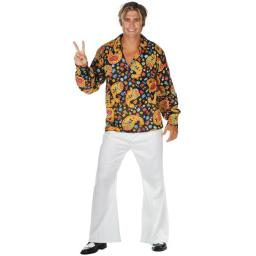 e583733bbbde2 Put on the Menx27s Plus Size Hippie Dude Costume and the party is wherever  you want it to be. This outfit comes with top bell bottoms and a headband.
