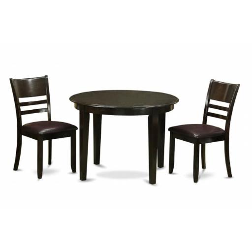 East West Furniture BOLY3-CAP-LC 3 Piece Kitchen Table Set-Small Table and 2 Kitchen Chairs