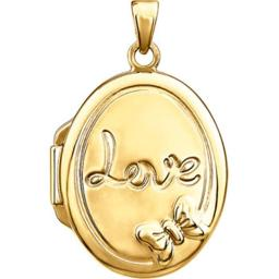 Stuller 28930-1001-P Yellow Gold Plated Sterling Silver Oval Love Locket 28930:1001:P