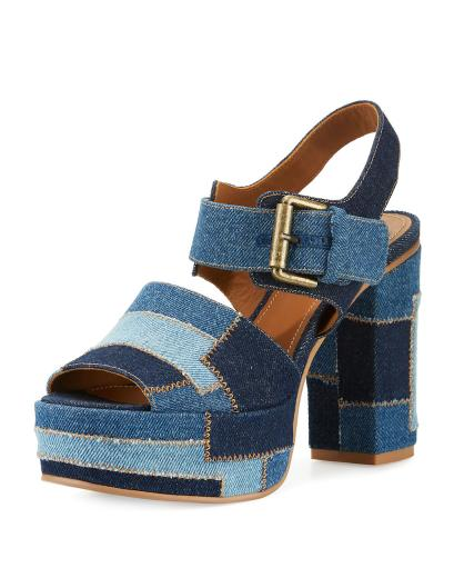 See by Chloé Womens Tara Denim Platform Slingback Sandals Peep Toe Ankle Str... See by Chloé Womens Tara Denim Platform Slingback Sandals Peep Toe Ankle Str.
