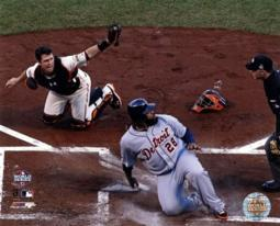 Buster Posey tags out Prince Fielder Game 2 of the 2012 MLB World Series Action Sports Photo PFSAAPI03401
