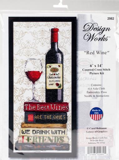 "Red Wine Counted Cross Stitch Kit-6""X14"" 14 Count AQN1BANDLKDXKRDK"