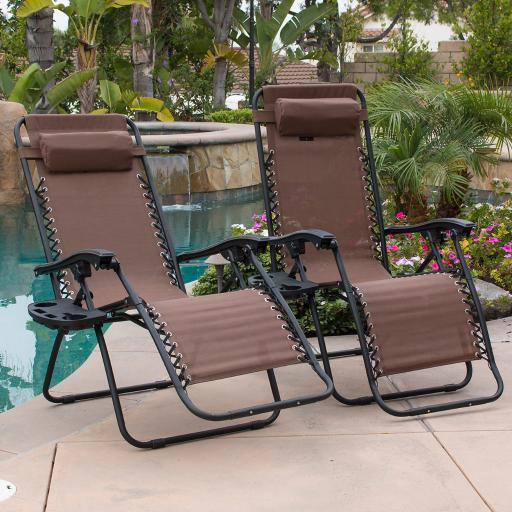 BELLEZE Padded Zero Gravity Lounge Chair Patio Foldable Adjustable Reclining w/ Cup Holder for Outdoor Yard Porch, Brown