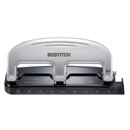 Amax 1493160 Bostitc in.PRESS 3-Hole Punch & 20 Sheets, Silver & Black