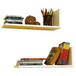 Colorful Day L-Shaped Leather Shelf / Bookshelf / Floating Shelf (Set of 2)