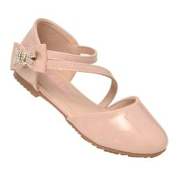 Bella Marie Girls Pink Closed Toe Rhinestone Bow Casual Shoes 11-4 Kids