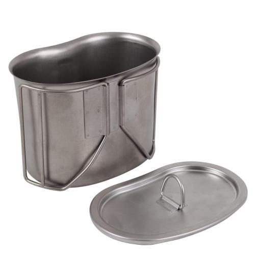 New G.I. Type Stainless Steel Canteen Cup with Lid, *Military