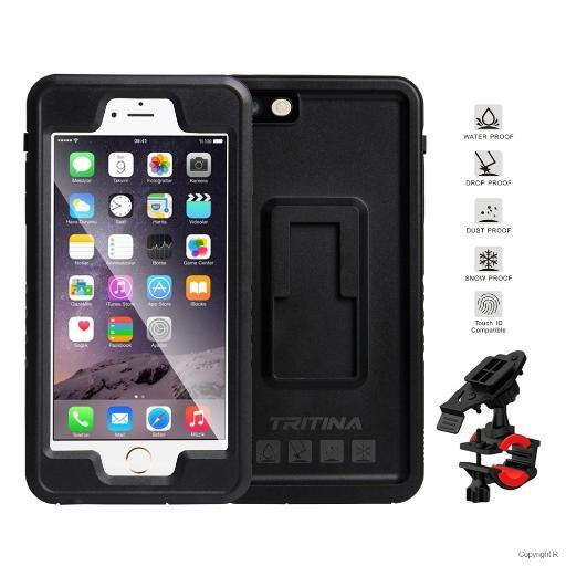 Tritina Bike Phone Mount for iPhone 6 6s Plus Waterproof IP68 Shockproof Holder Case for Motorcycle, Bicycle (Black) ATR15KM0DDELY1R8
