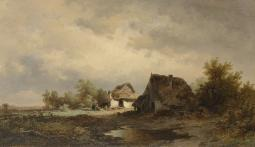 Landscape With Huts On The Heath, By Remigius Adrianus Haanen, C. 1850-80, Dutch Painting, Oil On Canvas. Two Weathered Cabins On A Heath With Figures, Poster Print EVCHISL041EC423H