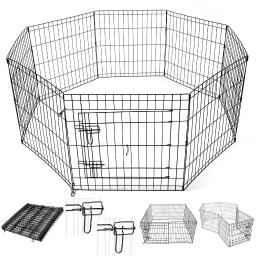 "Yescom 24"" Pet Dog Playpen Exercise Fence Cage Kennel Play Pen with Door 8 Panel Outdoor Indoor"