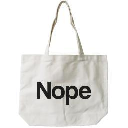Nope Typography Canvas Bag Natural 100% Canvas Cute Tote For Girls