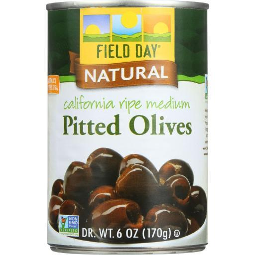 Field Day Olives - Black - Pitted - California Ripe Medium - 6 oz - case of 12