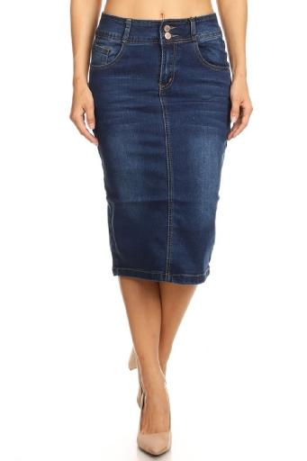 where can i buy latest discount top quality Women's Juniors Mid Waist Below Knee Length Denim Skirt in a Pencil  Silhouette