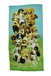 Pile Of Puppies Print Collage Style Beach Towel 30 x 60 in