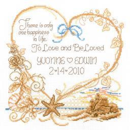 """Seaside Wedding Wedding Record Counted Cross Stitch Kit-7.5""""X8"""" 14 Count I2697"""