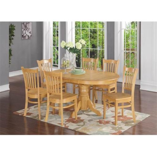 7 Piece Formal Dining Room Set-Oval Dinette Table With Leaf and 6 Dining Chairs